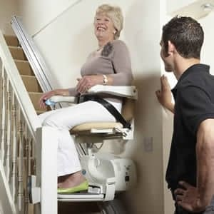 engineer checking stairlift