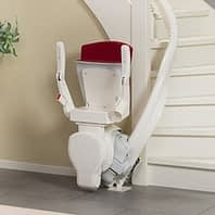 curved stairlift red folded seat